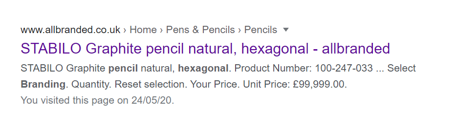 pencil paid search ad